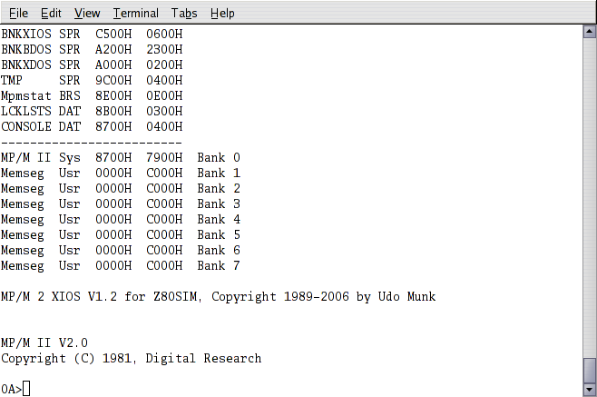 Z80 Emulator MP/M 2 Screenshots